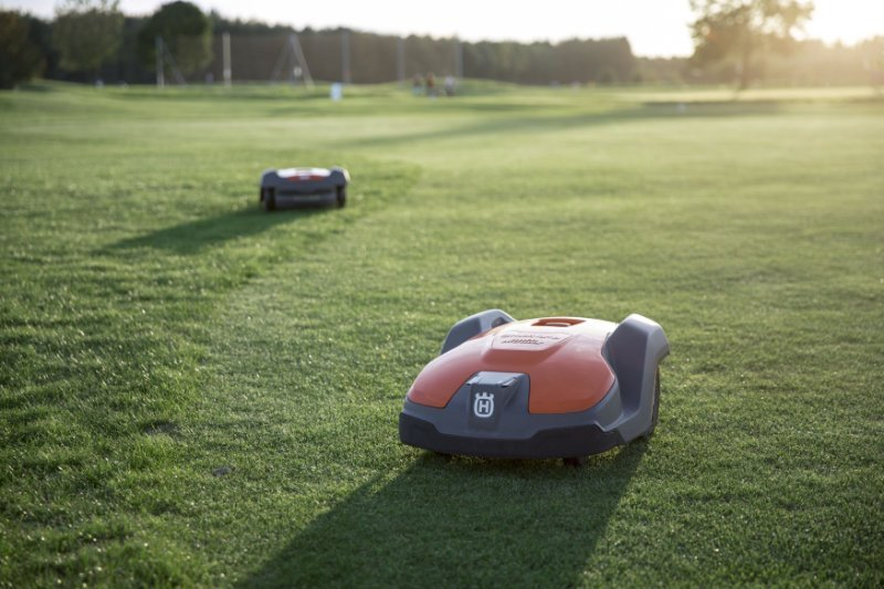 Husqvarna robotic mower on golf course
